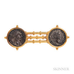 Archeological Revival Gold and Silver Coin Brooch