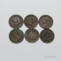 Six Coronet and Braided Hair Large Cents