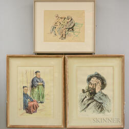 Joseph Margulies (American, 1896-1984)      Three Framed Color Lithographs: Breton Neighbors ,  Discussing World Problems