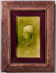 Framed J. & J.G. Low Art Tile Works Portrait Tile of a Woman
