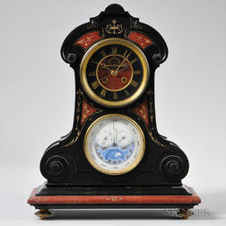 Tiffany & Company Belgian Slate and Rouge Marble Perpetual Calendar Clock