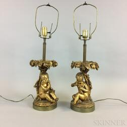 Pair of Gilt-bronze Figural Table Lamps