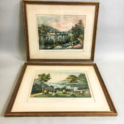 Two Framed Currier & Ives Hand-colored West Point Lithographs