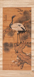 Hanging Scroll Depicting a Crane on a Pine