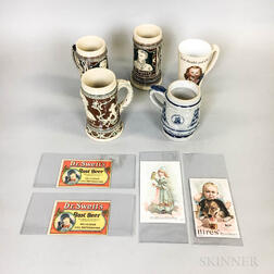Group of Vintage Root Beer Advertising Mugs and Trade Cards