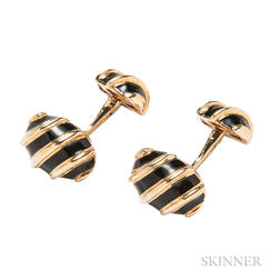 18kt Gold and Enamel Cuff Links, Schlumberger for Tiffany & Co.