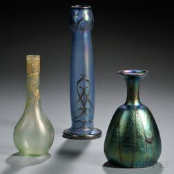 Three Iridescent Art Glass Vases