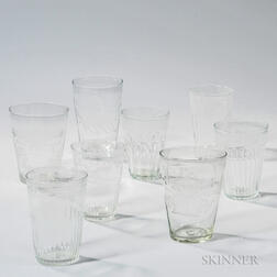 Eight Blown or Blown-molded Etched Flip Glasses