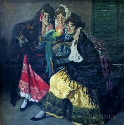 American or Continental School, 20th Century      Three Festive Spanish Women with a Parrot