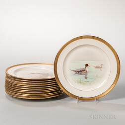 Twelve Lenox China Hand-painted Bird Plates