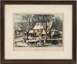 Framed Currier & Ives Hand-colored Lithograph Frozen Up