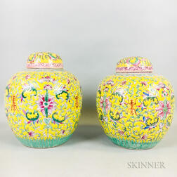 Pair of Famille Jaune Jars and Covers