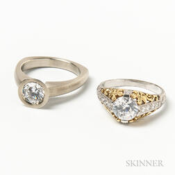Two 18kt Gold and Cubic Zirconia Rings