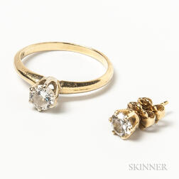 14kt Gold and Diamond Ring and Diamond Earstud
