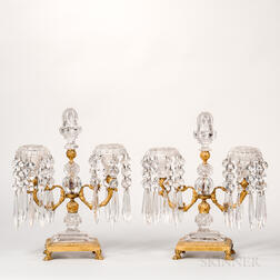 Pair of Gilt-bronze and Cut Glass Two-light Candelabra