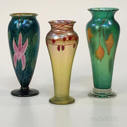 Three Orient and Flume Art Glass Vases