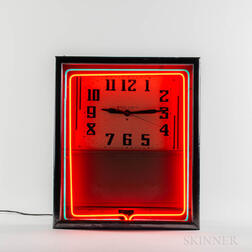 Neon Sign Advertising Clock