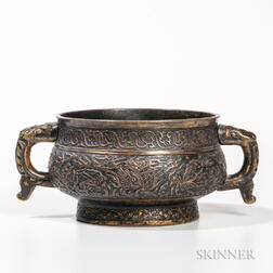 Parcel-gilt Copper Repousse Censer
