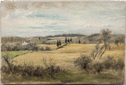 Albert Babb Insley (American, 1842-1937)      Rolling Landscape with Farmhouse