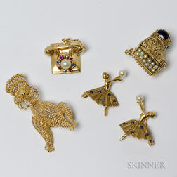 Group of 14kt Gold Brooches and Charms