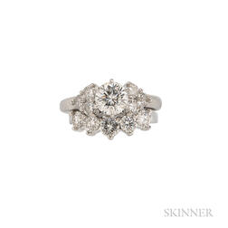 Platinum and Diamond Solitaire and Band