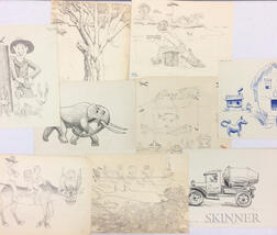 Maxfield Parrish Jr. (American, 1906-1983) and Family      Folder of Twenty-seven Works on Paper