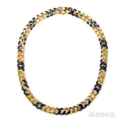 18kt Gold and Blackened Steel Necklace, Bulgari