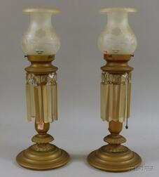 Pair of Brass Table Lamps with Frosted Etched Glass Shades and Prisms