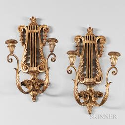 Pair of Italian Giltwood Lyre-form Sconces