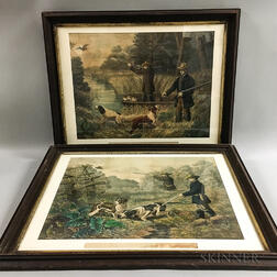 Four Framed Currier & Ives American Hunting Scenes   Lithographs