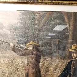 Four Framed German American Hunting Scenes   Lithographs