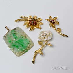 Three 14kt Gold Gem-set Flower Brooches and a Carved Jadeite Pendant