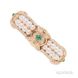 18kt Gold, Cultured Pearl, Diamond, and Emerald Bracelet