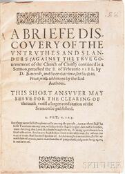 Penry, John (1559-1593) A Briefe Discovery of the Untruthes and Slanders (Against the True Government of the Church of Christ).