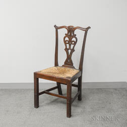 Chippendale Carved Mahogany Rush-seat Side Chair