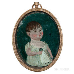 American School, Early 19th Century      Miniature Portrait of a Little Girl with a Doll