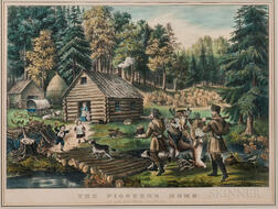 Currier & Ives Lithograph The Pioneer's Home, on the Western Frontier