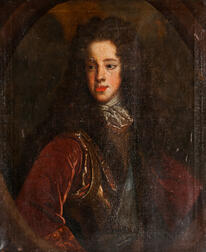 French School, 17th/18th Century      Portrait of a Young Man in a Long Brown Wig Looking to the Right, in a Painted Oval