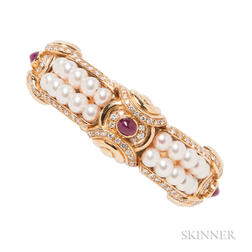 18kt Gold, Cultured Pearl, Diamond, and Ruby Bracelet