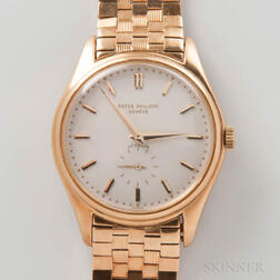 """Rare Patek Philippe """"Double Signed"""" 18kt Gold Automatic Wristwatch Reference 2526"""