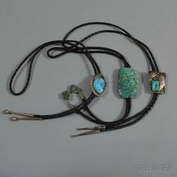 Three Southwest Silver and Turquoise Bolo Ties