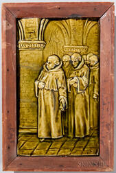 Framed J. & J.G. Low Art Tile Works Pottery Tile of Monks