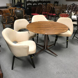 Dunbar Rosewood Veneer Round Table and Four Upholstered Chairs