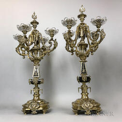 Pair of Neoclassical-style Brass and Glass Four-light Candelabra