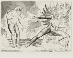 William Blake (British, 1757-1827)      Seized on his Arm And Mangled Bore away the Sinewy Part (The Demons Tormenting Ciampolo)