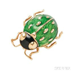 18kt Gold and Enamel Pin, Cartier