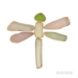 14kt Gold, Sterling Silver, and Beach Glass Brooch