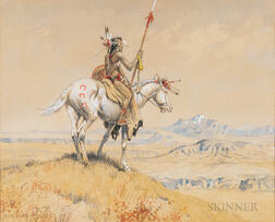 Olaf C. Seltzer (American, 1877-1957)      Blackfeet Indian on Horseback