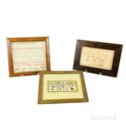 Three Small Framed 19th Century Needlework Samplers