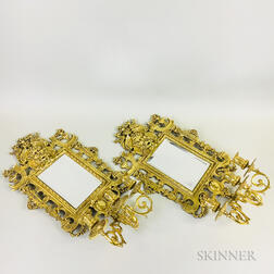 Pair of Renaissance-style Mirrored Brass Three-light Wall Sconces